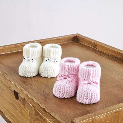 Πλεκτά Παπουτσάκια (Σετ 2 Τμχ) Sb Home Baby Shoes No1 Εκρου-Ροζ