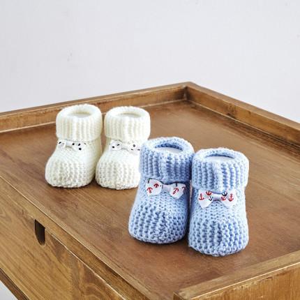 Πλεκτά Παπουτσάκια (Σετ 2 Τμχ) Sb Home Baby Shoes No6 Εκρου-Σιελ