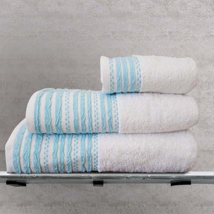 Πετσέτα Προσώπου 50x90 Sb Home Romina Aqua Λευκο/Ακουα