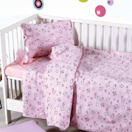 Παπλωματοθήκη Σετ Κούνιας 110x150 Sb Home Camy Pink Ροζ