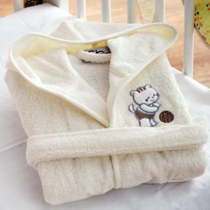Βρεφικό Μπουρνούζι Με Κουκούλα Sb Home Kitten Cream Εκρου