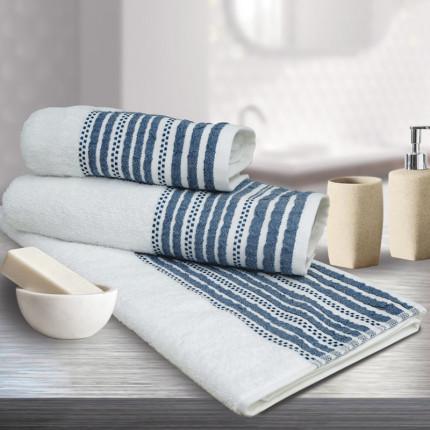 Πετσέτα Προσώπου 50x90 Sb Home Romina Navy Λευκο/Μπλε