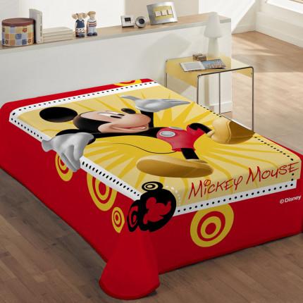 Κουβέρτα Βελουτέ Μονή 160X220 Dimcol Disney Mickey 562 Κόκκινο