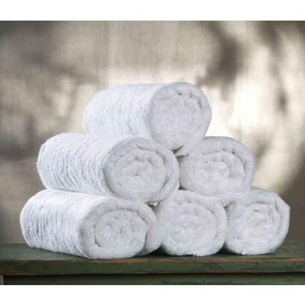 Πετσέτα 50x90 450 Γραμ. Ριγέ Μπορντούρα Λευκή Πενιε 100% Βαμβάκι