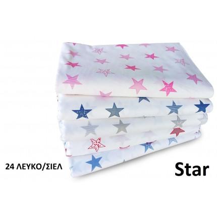 Σεντόνια Μονά (Σετ 2 Τμχ) 160X240 Dimcol Star 24 Σιελ Χωρίς Λάστιχο