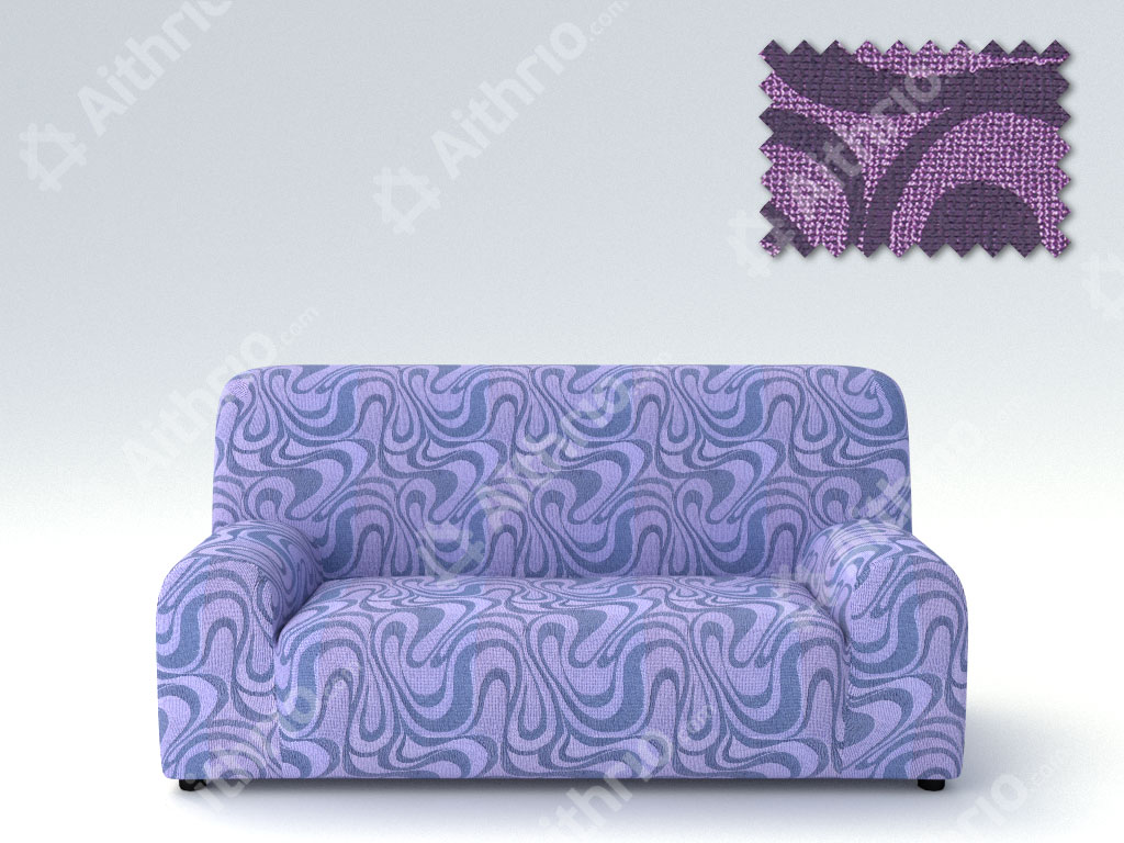Ελαστικά καλύμματα καναπέ Danubio-Τριθέσιος-Μωβ-10+ Χρώματα Διαθέσιμα-Καλύμματα Σαλονιού
