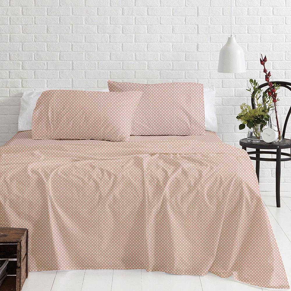 Σεντόνια Μονά Φανελένια (Σετ) 100% Βαμβάκι 5416 Pink