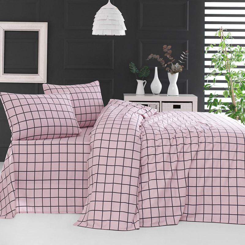 Σεντόνια Φανελένια Υπέρδιπλα (Σετ) 230X260 Rythmos Squares Ροζ Χωρίς Λάστιχο