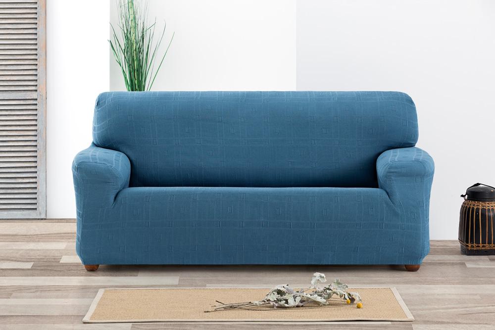 Ελαστικά καλύμματα καναπέ Tania-Τριθέσιος-Γαλάζιο-10+ Χρώματα Διαθέσιμα-Καλύμματα Σαλονιού