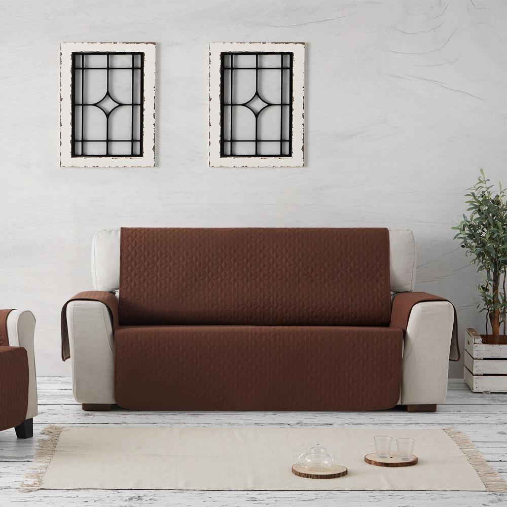 Αδιάβροχα Σταθερά Καλύμματα Καναπέ Quilt Geo Teflon - C/3 Καφέ - Πολυθρόνα -10+ Χρώματα Διαθέσιμα-Καλύμματα Σαλονιού