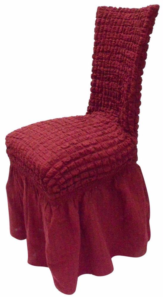 Ελαστικό κάλυμμα καρέκλας 70% Βαμβάκι-30% Λύκρα (Ανά τεμάχιο)-Μπορντώ καλύμματα επίπλων καλύμματα καρέκλας