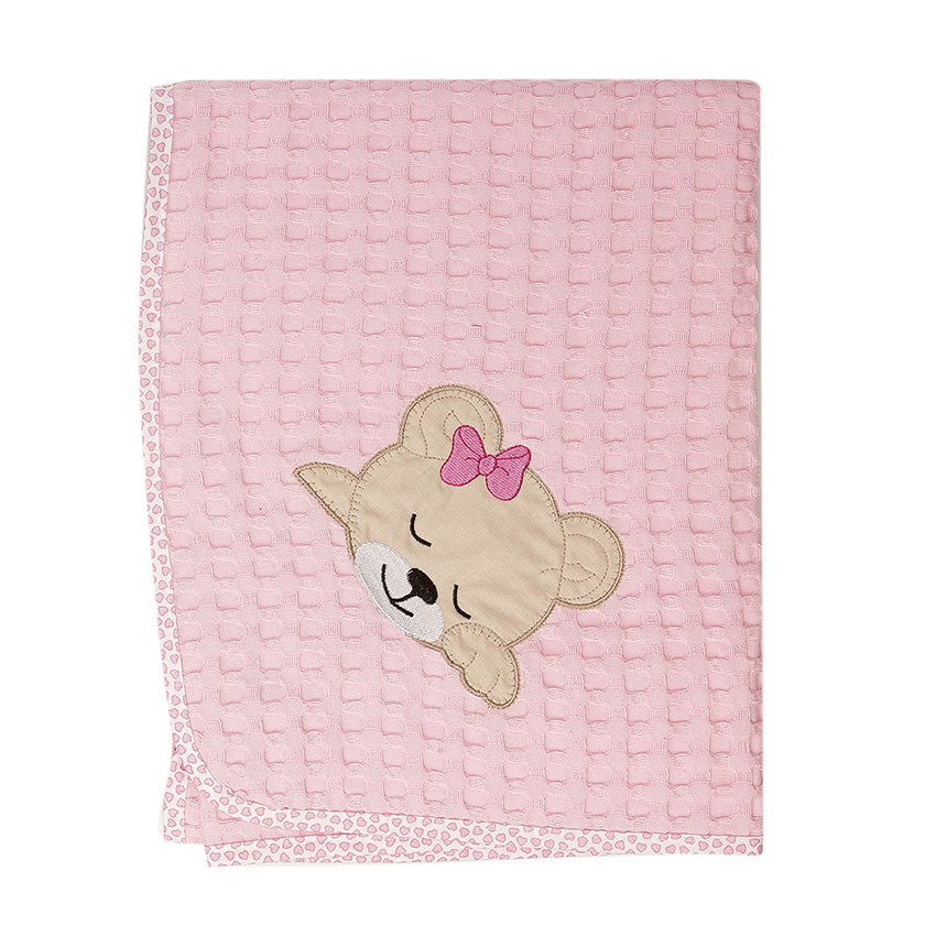 Κουβέρτα Πικέ Λίκνου 80X110 Dimcol Sleeping Bears Cub 13 Ροζ