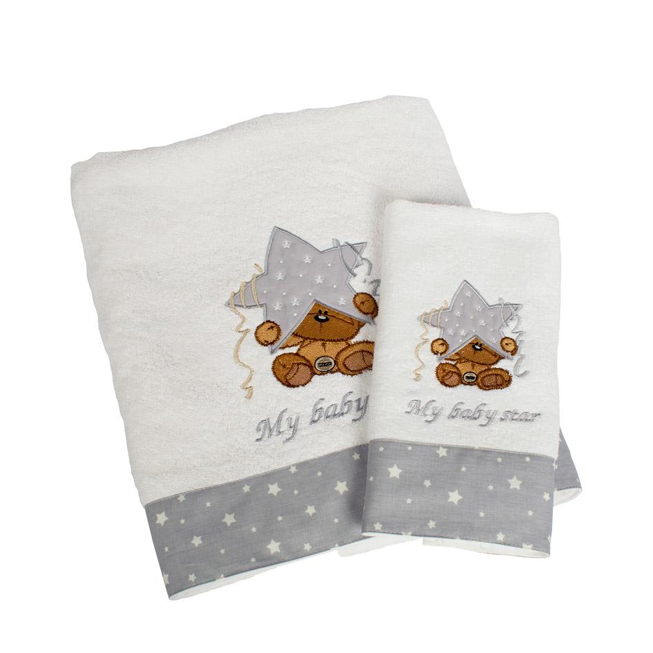 Βρεφικές Πετσέτες (Σετ 2 Τμχ) Dimcol Αστερι 124 Γκρι