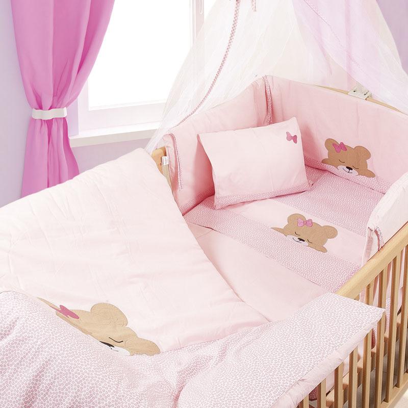 Σετ Κούνιας (7 Τμχ) Dimcol Sleeping Bears Cub 14 Ροζ