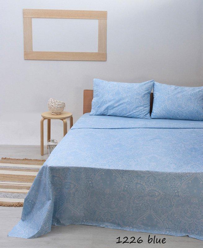 Σεντόνια Μονά (Σετ) 100% Βαμβάκι 1226 Blue
