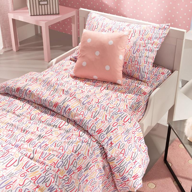 Σεντόνια Μονά (Σετ) 160X260 Saint Clair Letters Pink Χωρίς Λάστιχο