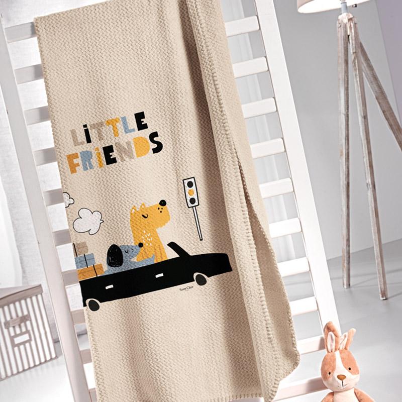 Κουβέρτα Βελουτέ Μονή 160X220 Saint Clair Ultrasoft Doggy Blue
