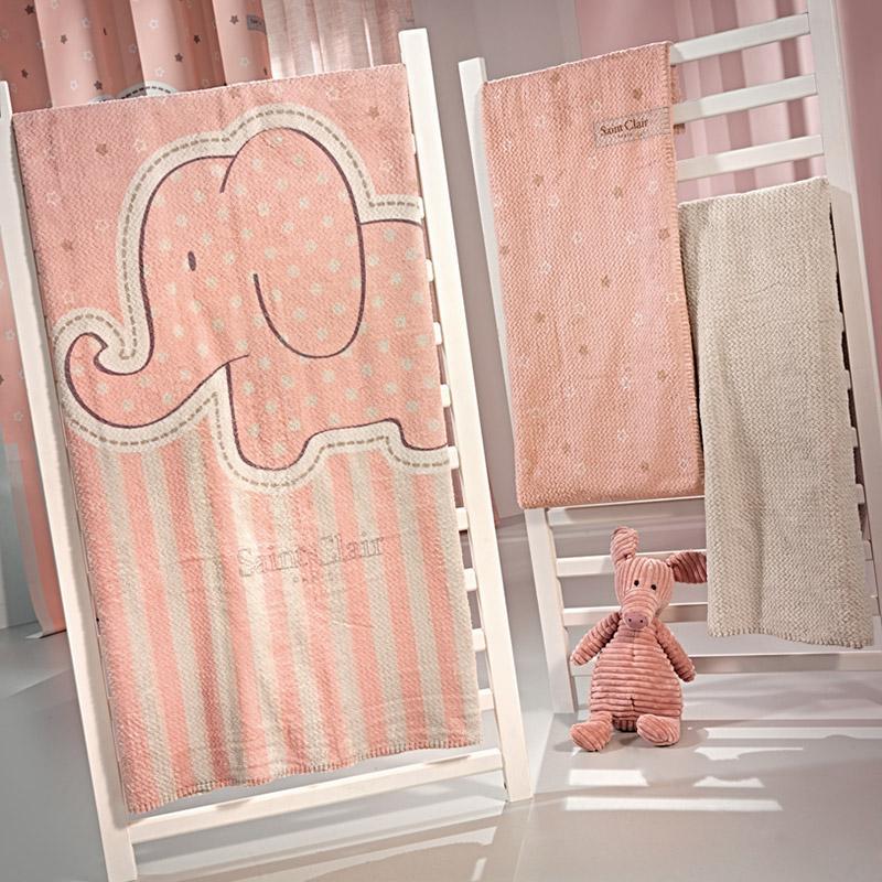 Κουβέρτα Βελουτέ Κούνιας 110X140 Saint Clair Ultrasoft Africa Pink