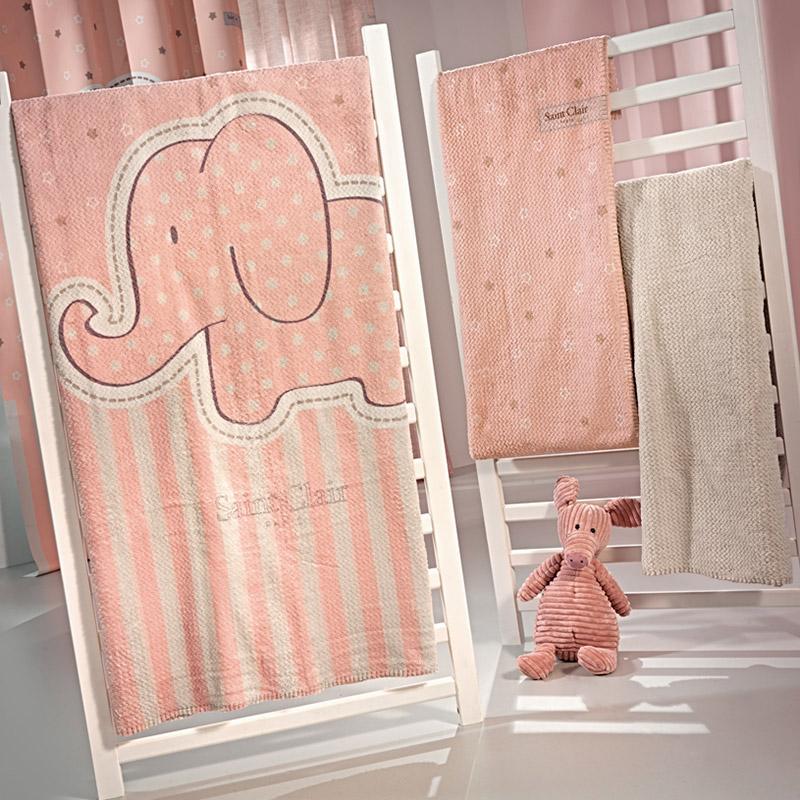 Κουβέρτα Βελουτέ Κούνιας 110X140 Saint Clair Ultrasoft Starlight Pink