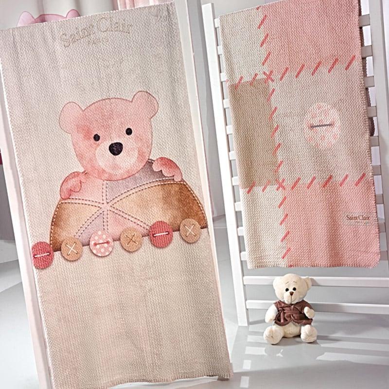 Κουβέρτα Βελουτέ Κούνιας 110X140 Saint Clair Ultrasoft Patchwork Pink
