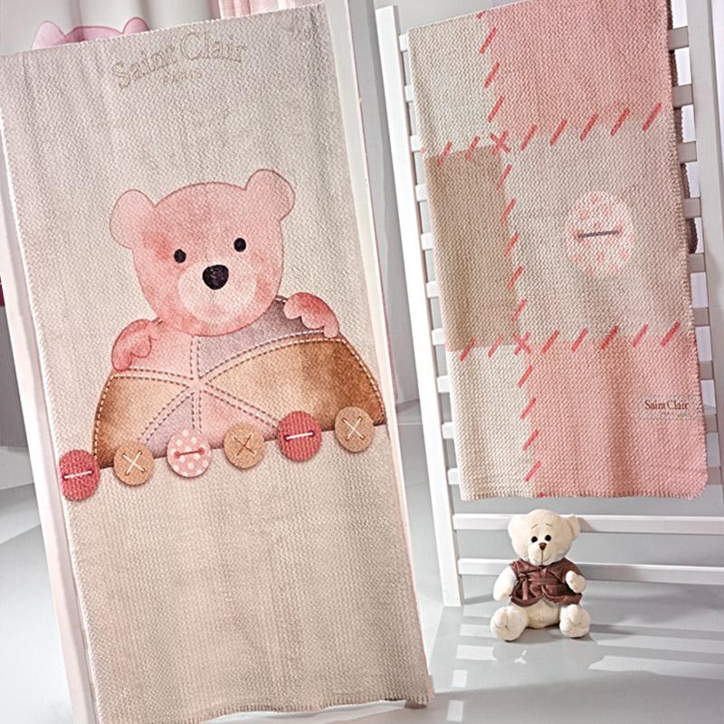Κουβέρτα Βελουτέ Κούνιας 110X140 Saint Clair Ultrasoft Teddy Rose
