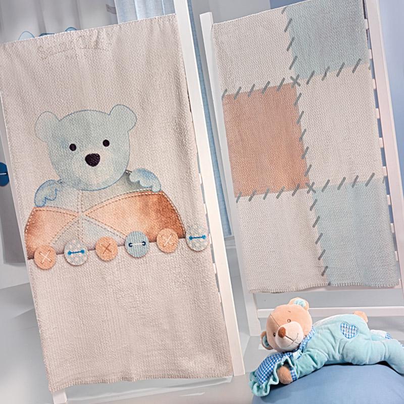 Κουβέρτα Βελουτέ Κούνιας 110X140 Saint Clair Ultrasoft Patchwork Blue