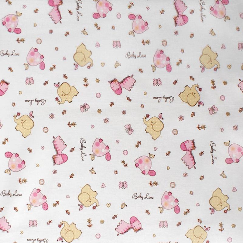 Σεντόνι Μεμονωμένο Λίκνου 80X110 Dimcol Elephant 172 Pink Χωρίς Λάστιχο