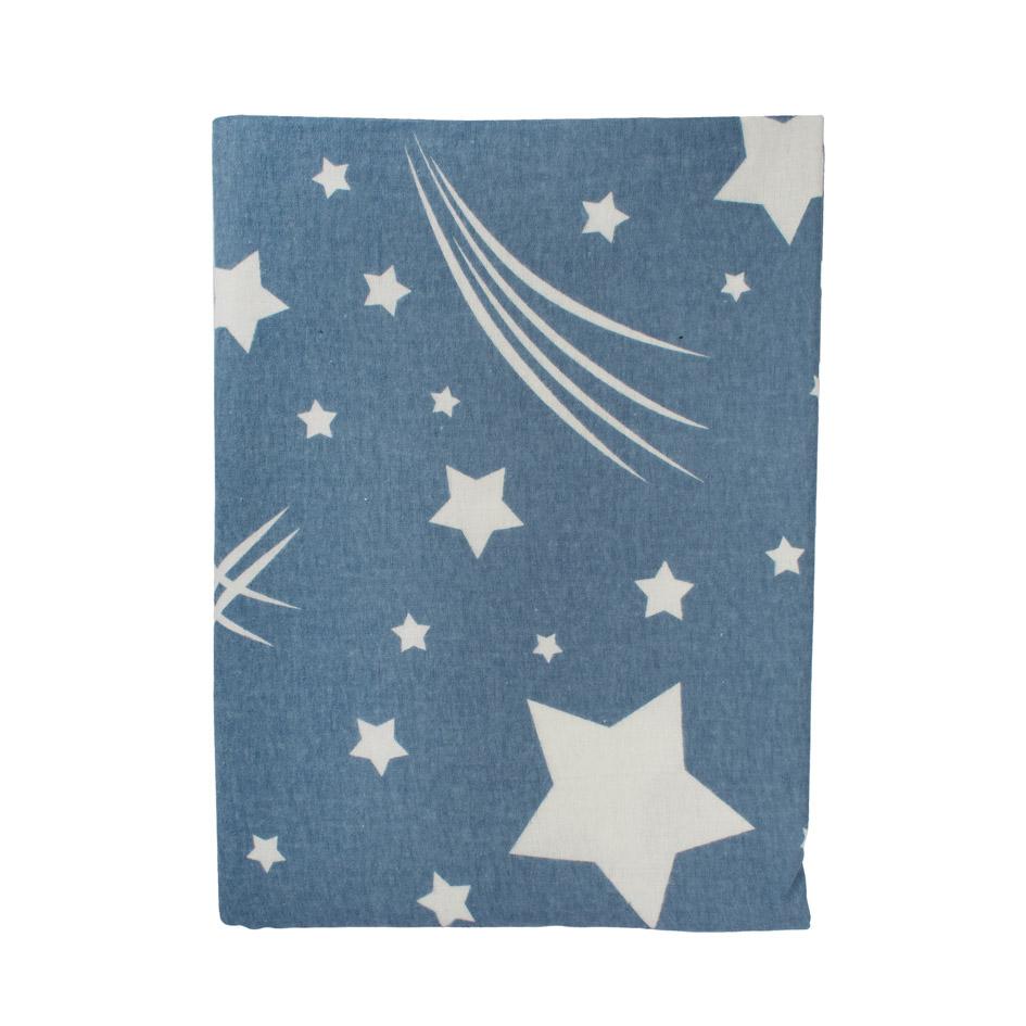 Σεντόνια Φανελένια Λίκνου 80X110 Dimcol Star 37 Blue Χωρίς Λάστιχο