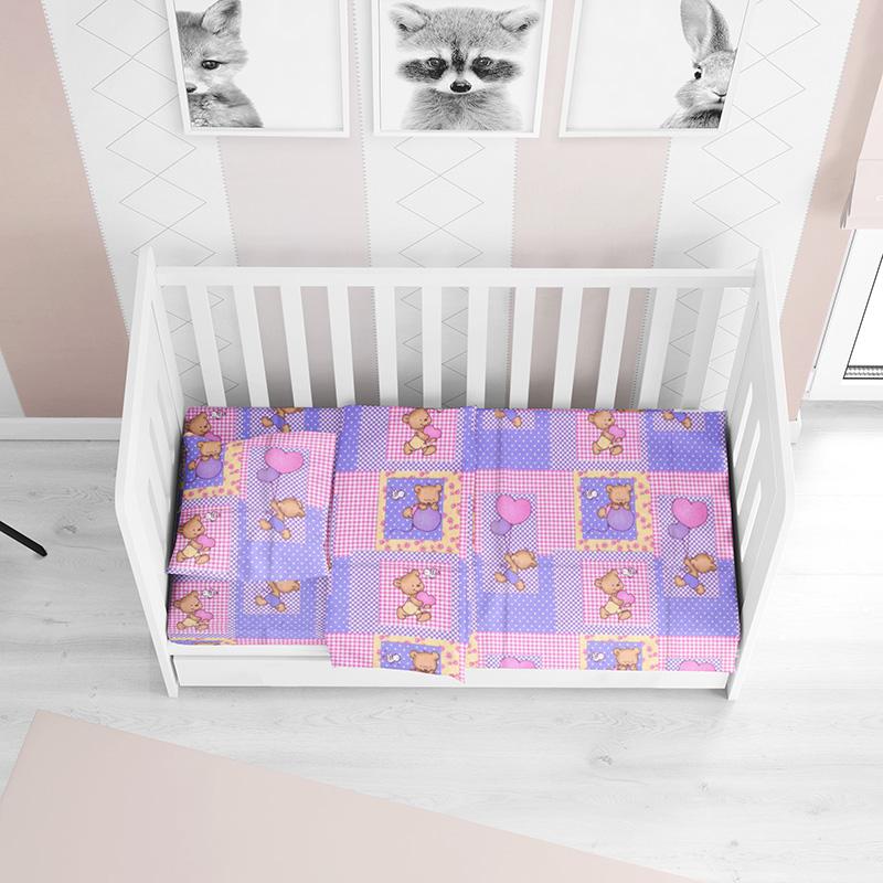 Σεντόνι Φανελένιο Κούνιας 70X140+15 Dimcol Baloon 75 Pink Με Λάστιχο (70×140+15)