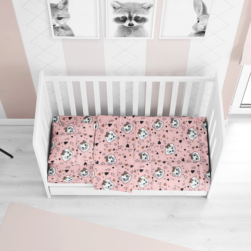 Σεντόνι Φανελένιο Κούνιας 70X140+15 Dimcol Puppy-Kitten 18 Pink Με Λάστιχο