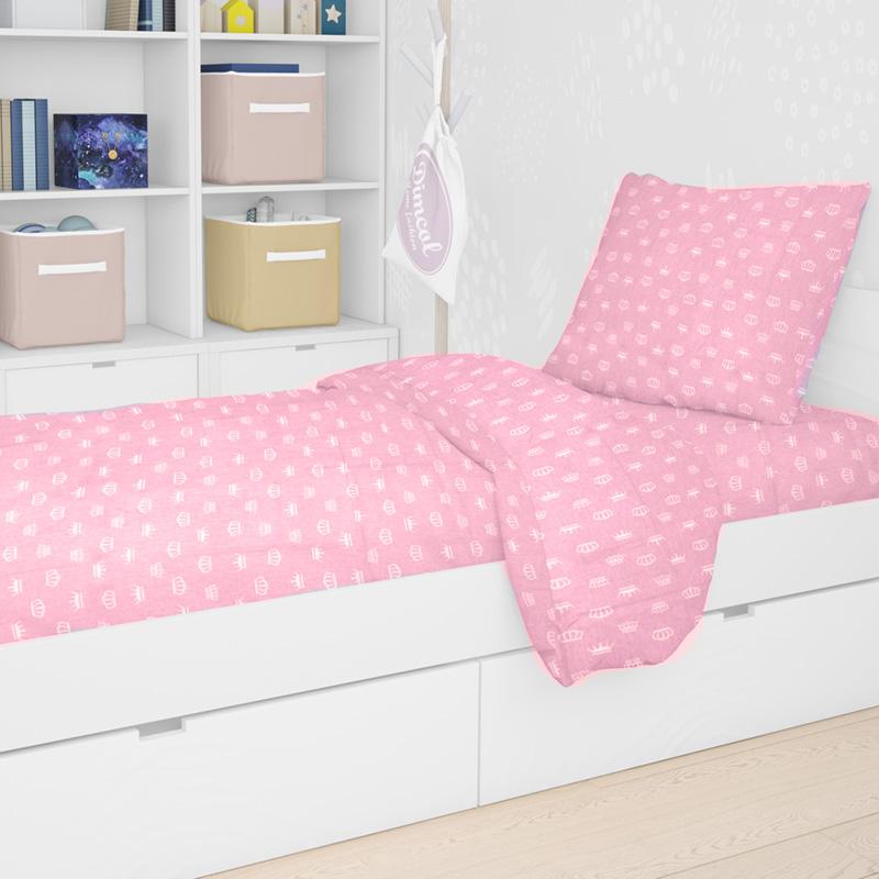 Σεντόνια Μονά (Σετ) 160X240 Dimcol Princess 47 Pink Χωρίς Λάστιχο