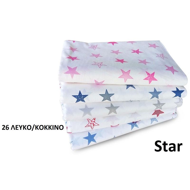 Σεντόνια Μονά (Σετ) 160X240 Dimcol Star 26 Κόκκινο Χωρίς Λάστιχο