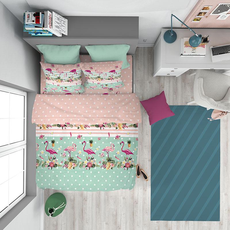 Σεντόνια Φανελένια Μονά (Σετ) 160X240 Dimcol Flamingo 294 Χωρίς Λάστιχο