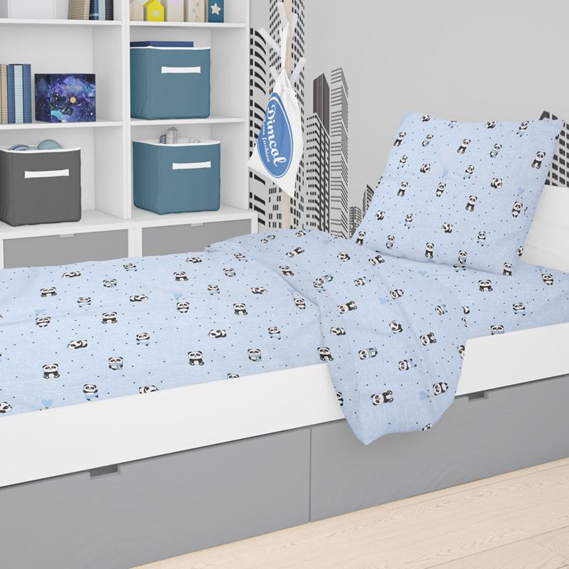 Σεντόνι Μονό (Σετ 2 Τμχ) 160X240 Dimcol Panda 110 Μπλε Χωρίς Λάστιχο