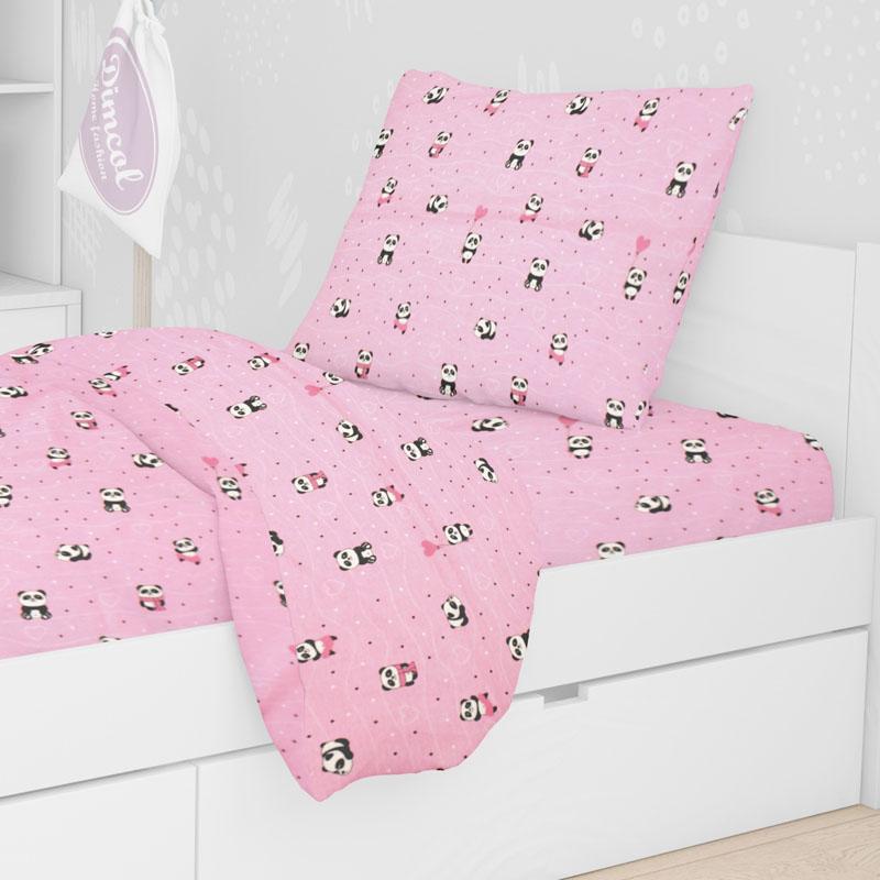 Μαξιλαροθήκη Τεμάχιο 50X70 Dimcol Panda 111 Ροζ (50x70)
