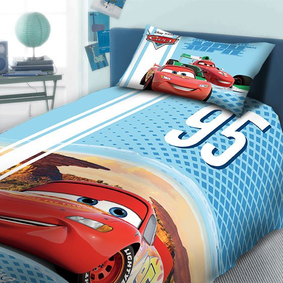 Παπλωματοθήκη Μονή (Σετ) 160X240 Dimcol Disney Cars 970 Σιελ
