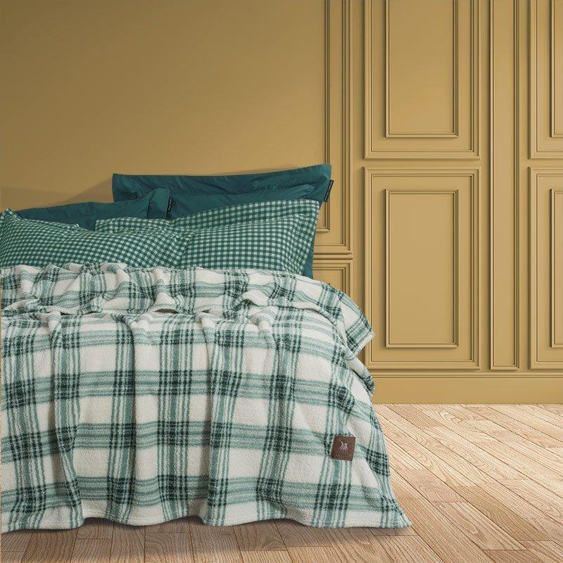 Κουβέρτα Fleece Υπέρδιπλη 220×240 Greenwich Polo Club Essential 2432 Πρασινο – Εκρου