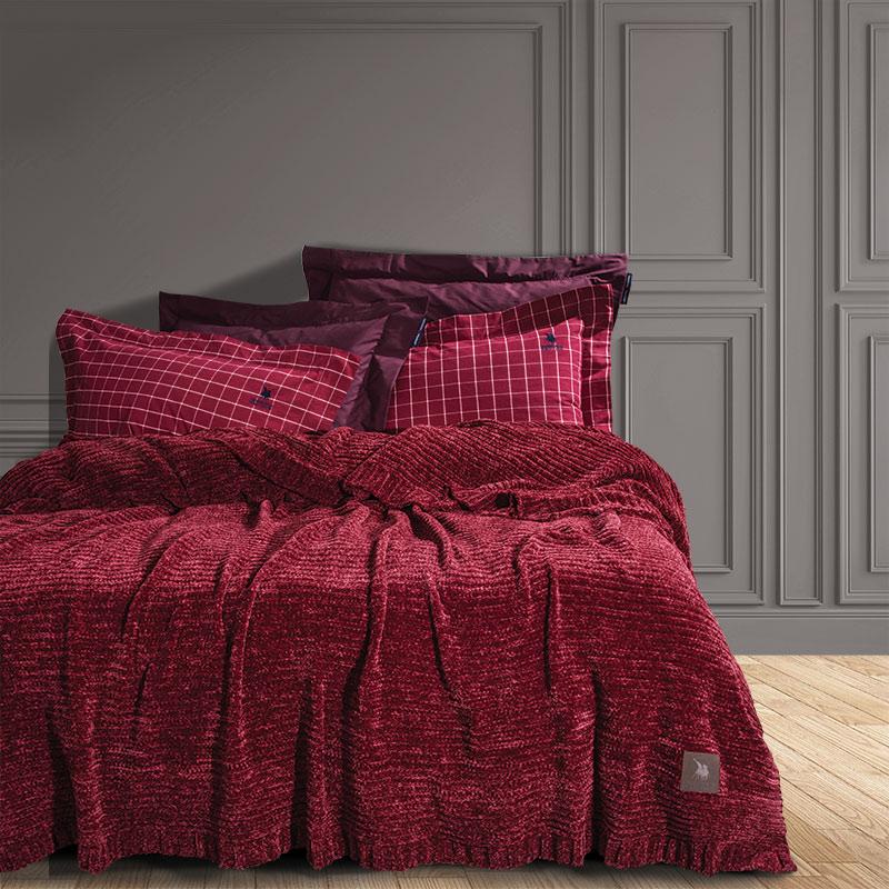 Κουβέρτα Πλεκτή Υπέρδιπλο 220×240 Greenwich Polo Club Premium 2422 Μπορντω