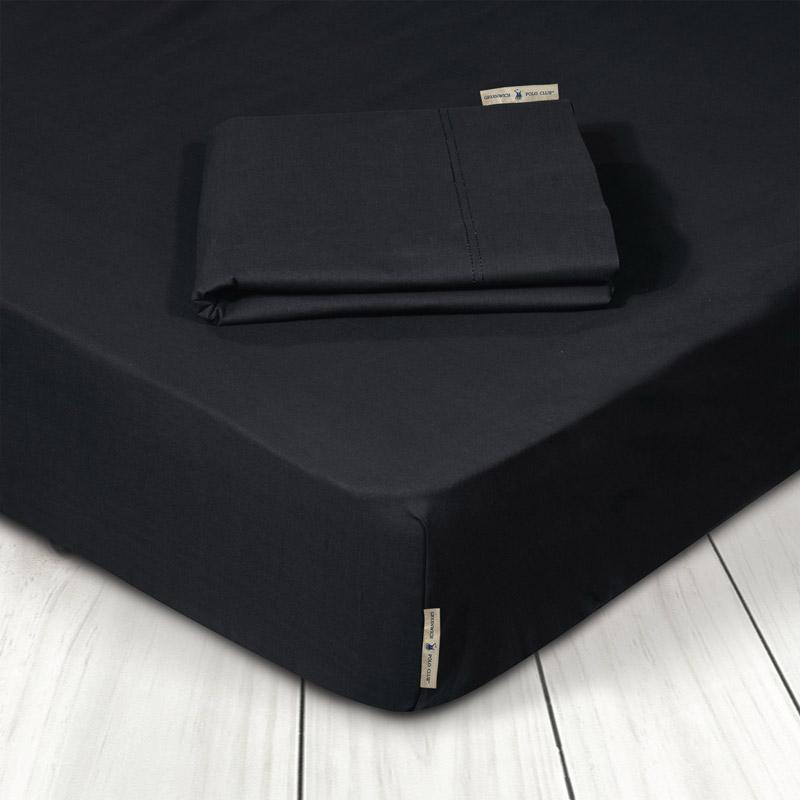 Σεντόνι Μεμονωμένο Υπέρδιπλο 160X200+35 Greenwich Polo Club Premium 2210 Μαύρο Με Λάστιχο
