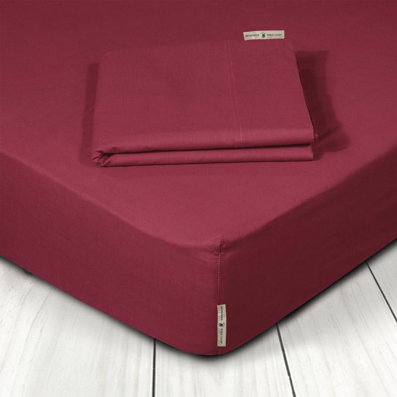 Σεντόνι Μεμονωμένο Υπέρδιπλο 160X200+35 Greenwich Polo Club Premium 2212 Κόκκινο Με Λάστιχο