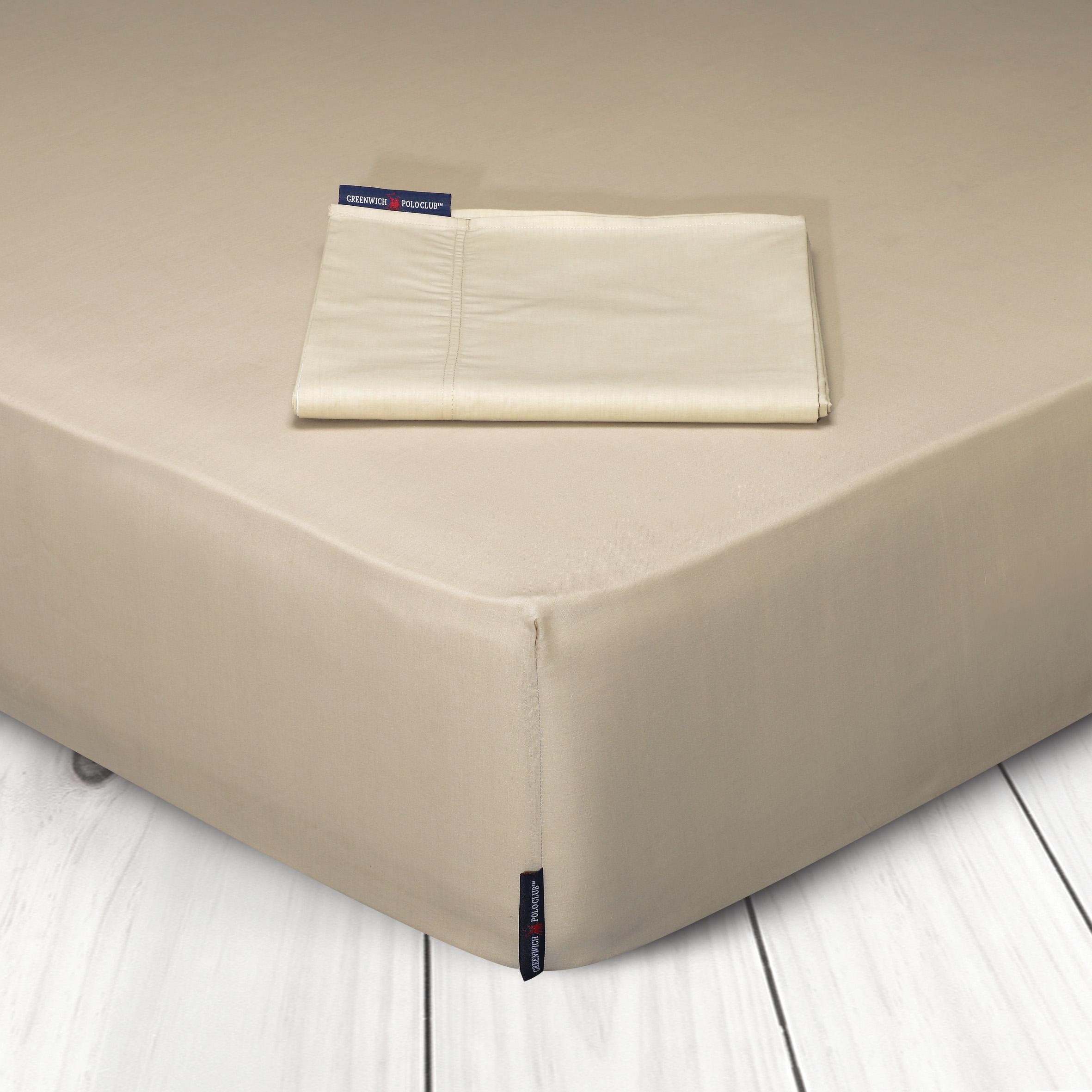 Σεντόνι Μεμονωμένο King Size 180×200+35 Greenwich Polo Club Premium 2204 Μπεζ Με Λάστιχο