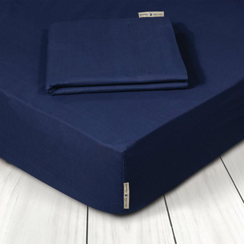 Σεντόνι Μεμονωμένο King Size 180X200+35 Greenwich Polo Club Premium 2209 Navy Με Λάστιχο