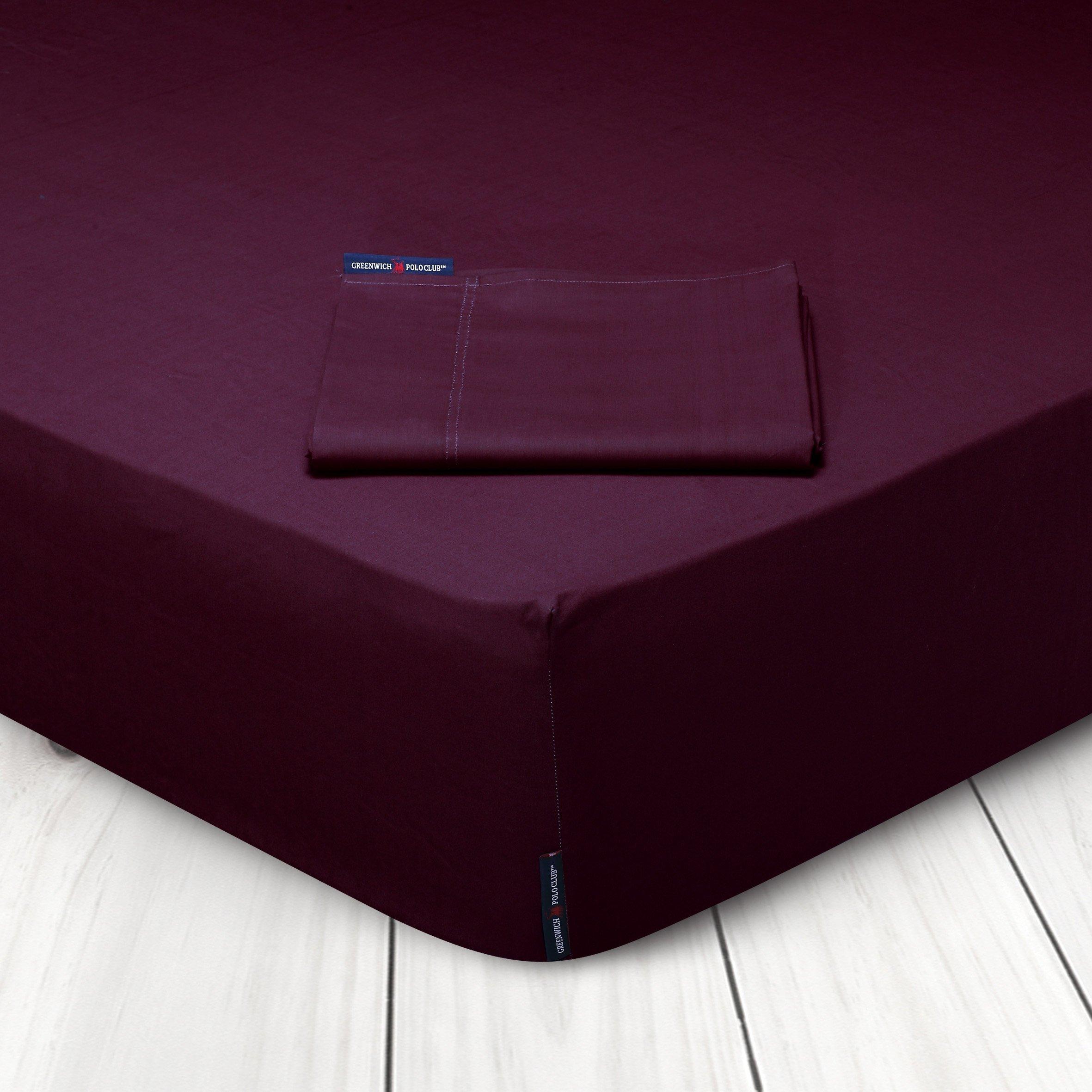 Σεντόνι Μεμονωμένο Υπέρδιπλο 240×270 Greenwich Polo Club Premium 2205 Μπορντω Χωρίς Λάστιχο