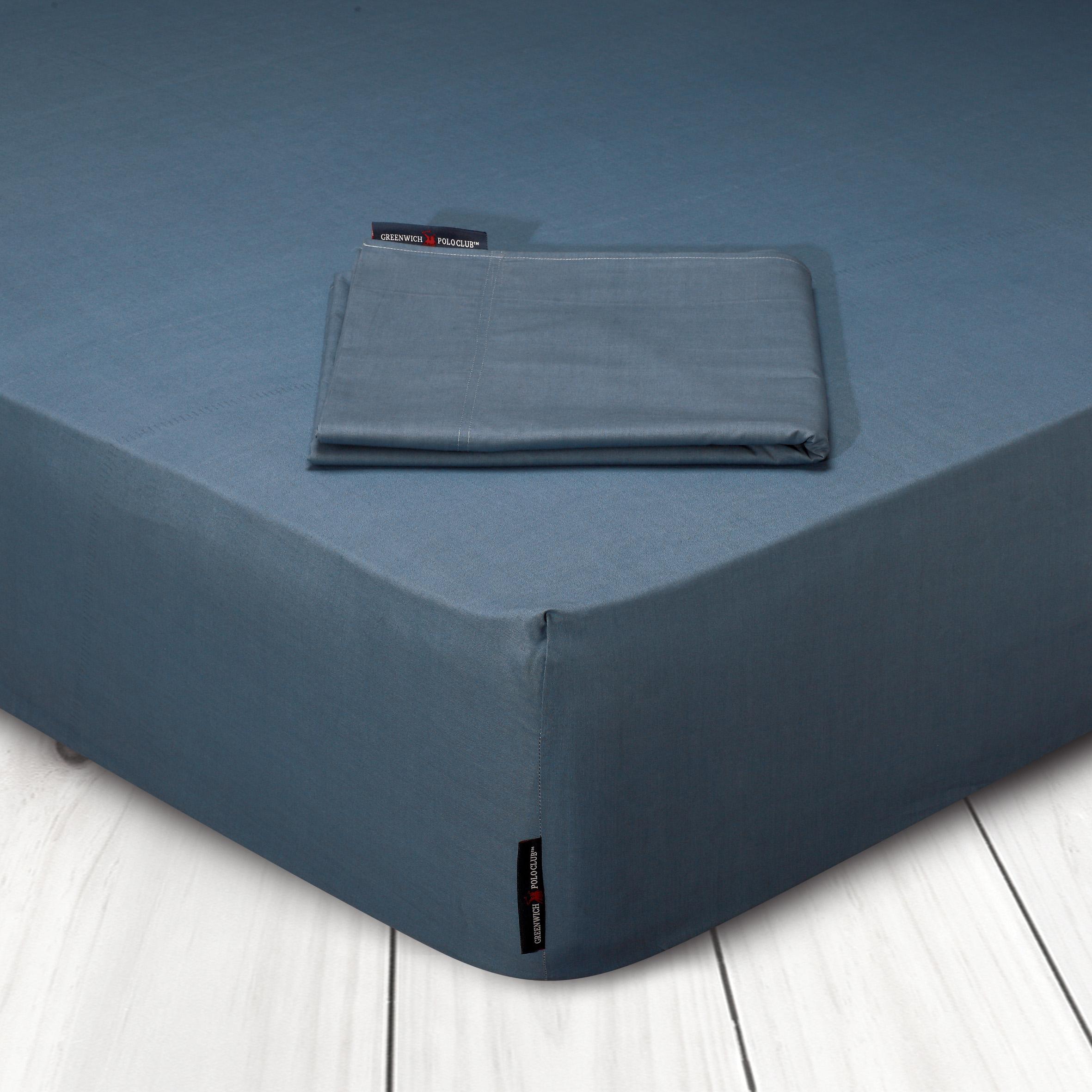 Σεντόνι Μεμονωμένο Υπέρδιπλο 240×270 Greenwich Polo Club Premium 2206 Μπλε Ραφ Χωρίς Λάστιχο