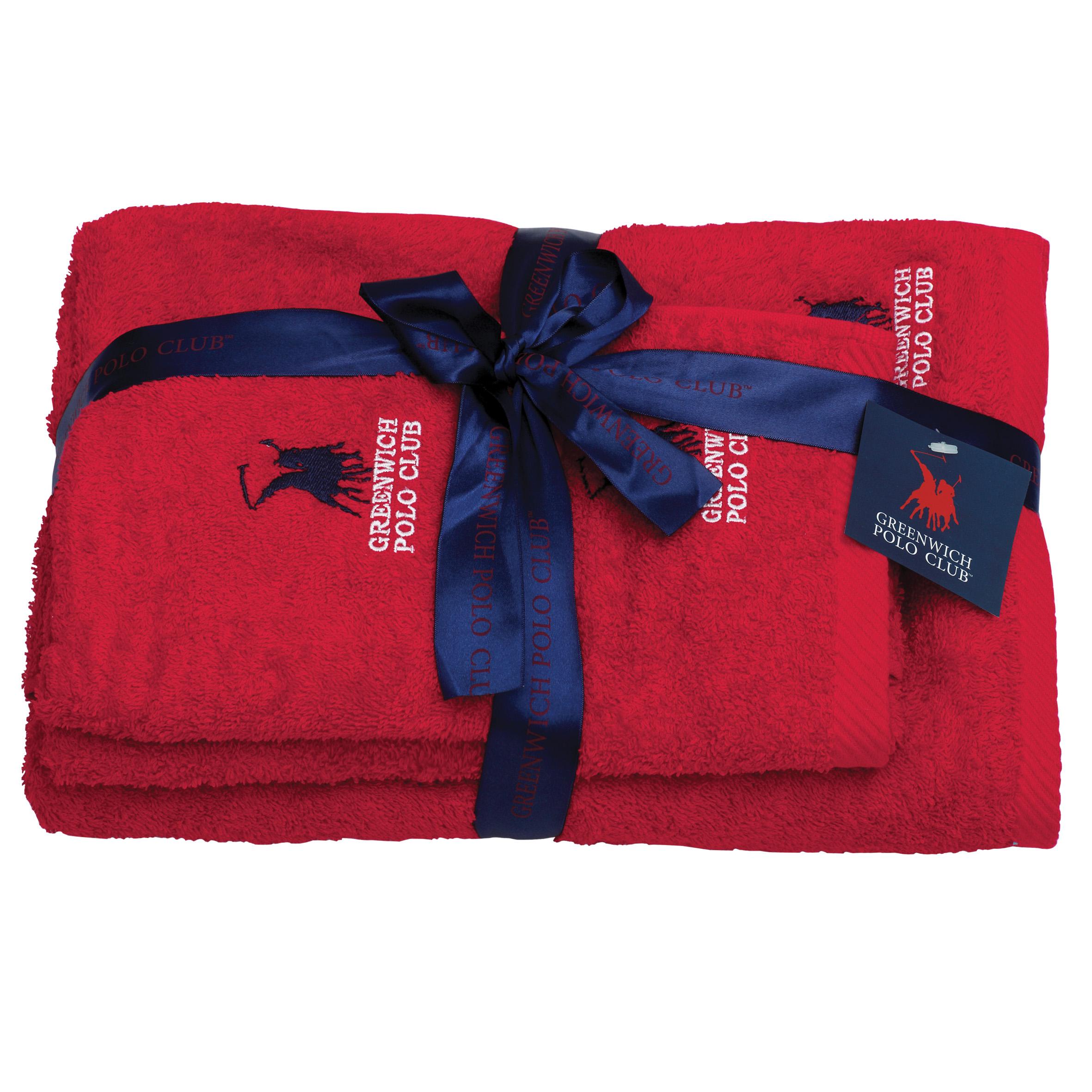 Πετσέτες Μπάνιου (Σετ 3 Τμχ) Greenwich Polo Club Essential 2501 Κοκκινο