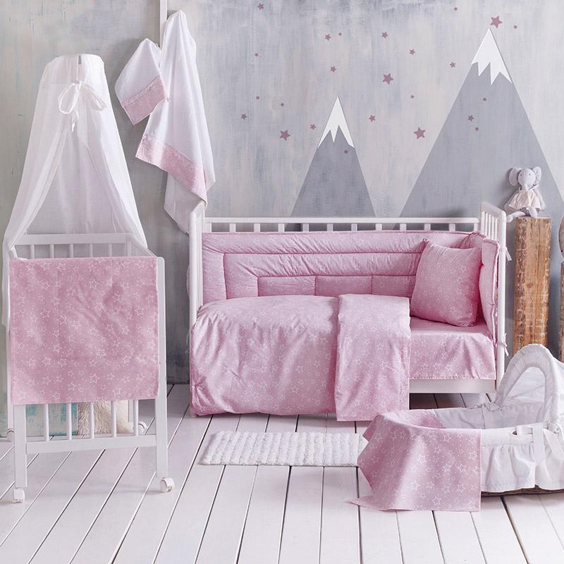 Σεντόνι Μεμονωμένο Λίκνου 80X110 Rythmos Bright Baby Pink Χωρίς Λάστιχο
