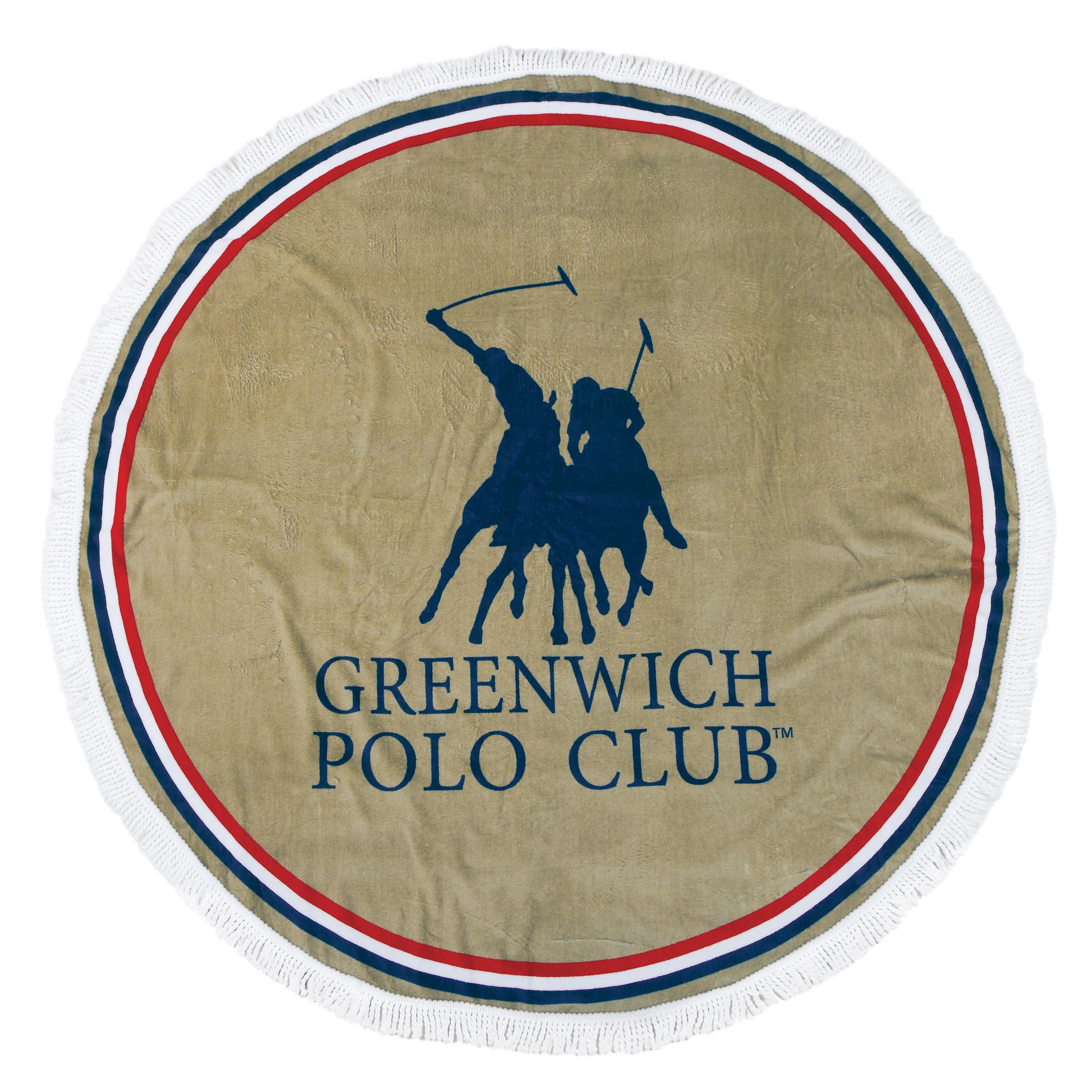 Πετσέτα Θαλάσσης Φ160 Greenwich Polo Club Essential 2825 Μπεζ-Κοκκινο-Μπλε