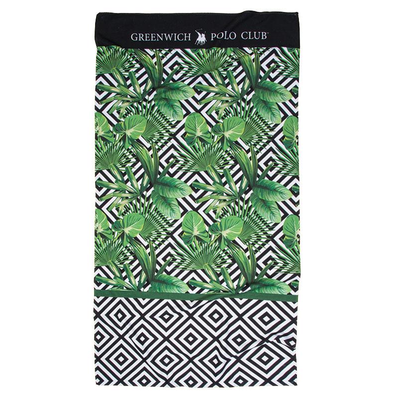 Πετσέτα Θαλάσσης 80×160 Greenwich Polo Club Essential 2865 Πρασινο-Λευκο-Μαυρο