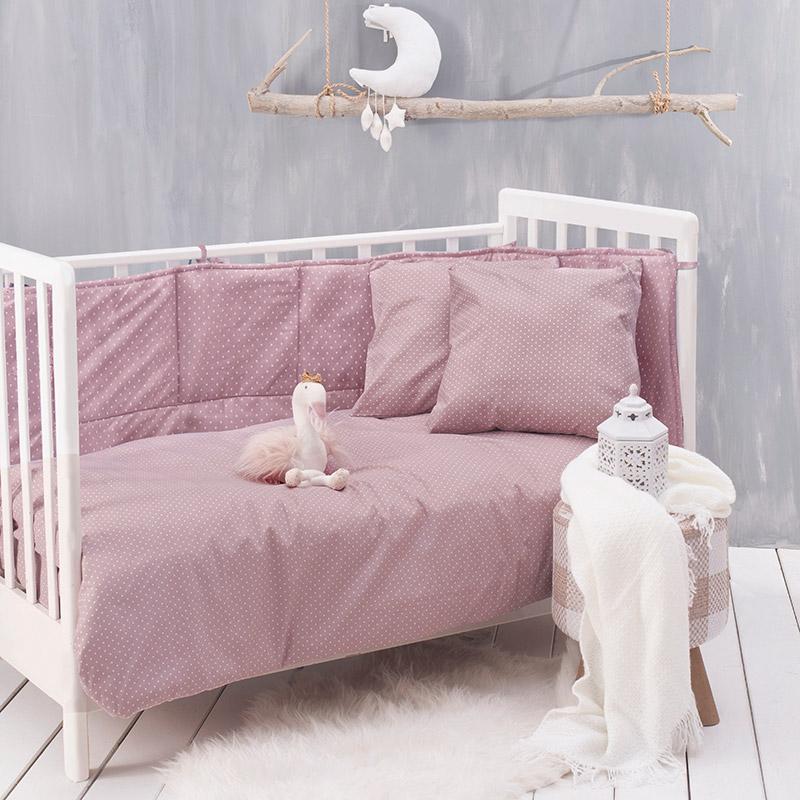Σεντόνια Κούνιας (Σετ) 120X160 Rythmos Dotty Baby Ροζ Χωρίς Λάστιχο
