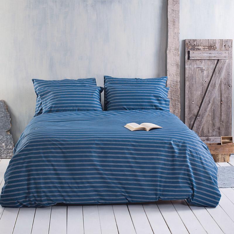 Σεντόνια Μονά (Σετ) 105X205+25 Rythmos Timothy Blue Με Λάστιχο